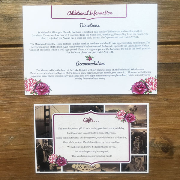 Wedding Stationery - Additional Information and Gifts Cards