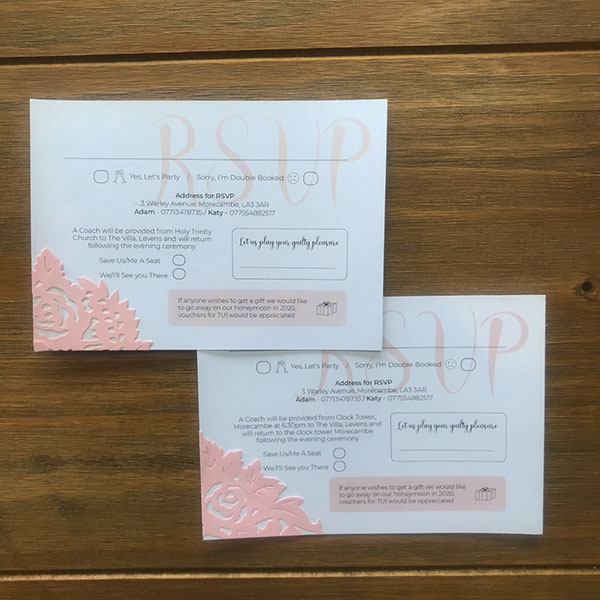 Wedding Stationery - RSVP day and evening